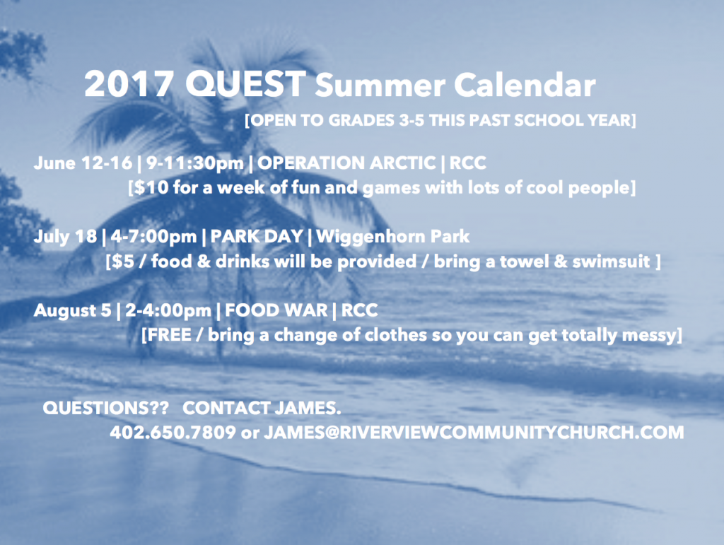 Quest Summer Calendar Flyer