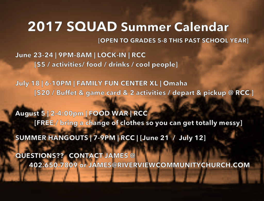 Squad Summer Calendar Flyer